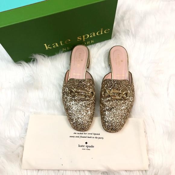 bba5dbff6ded kate spade Shoes - Kate Spade gold glitter Glendi mule shoes